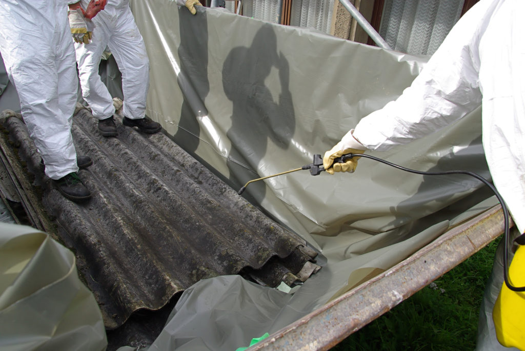 Asbestos wetting and wrapping